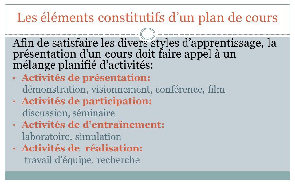 Les éléments constitutifs dun plan de cours Afin de satisfaire les divers styles dapprentissage, la présentation dun cours doit faire appel à un mélan