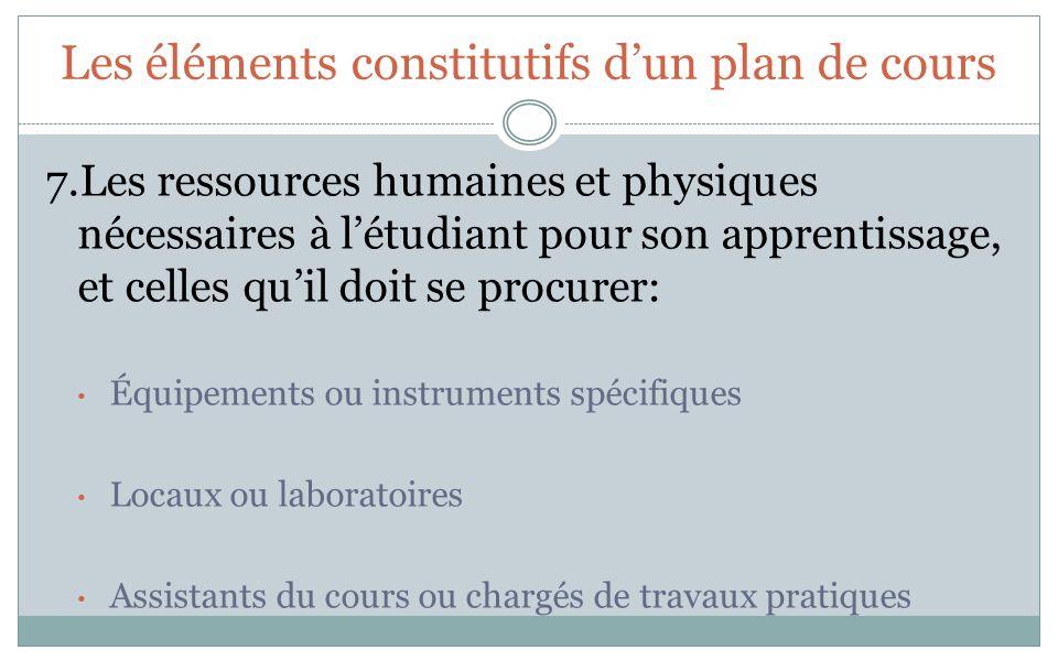 Les éléments constitutifs dun plan de cours 7.Les ressources humaines et physiques nécessaires à létudiant pour son apprentissage, et celles quil doit