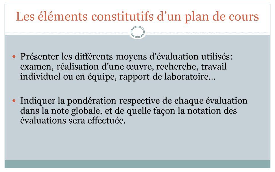 Les éléments constitutifs dun plan de cours Présenter les différents moyens dévaluation utilisés: examen, réalisation dune œuvre, recherche, travail i