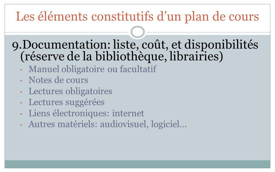 Les éléments constitutifs dun plan de cours 9.Documentation: liste, coût, et disponibilités (réserve de la bibliothèque, librairies) Manuel obligatoir