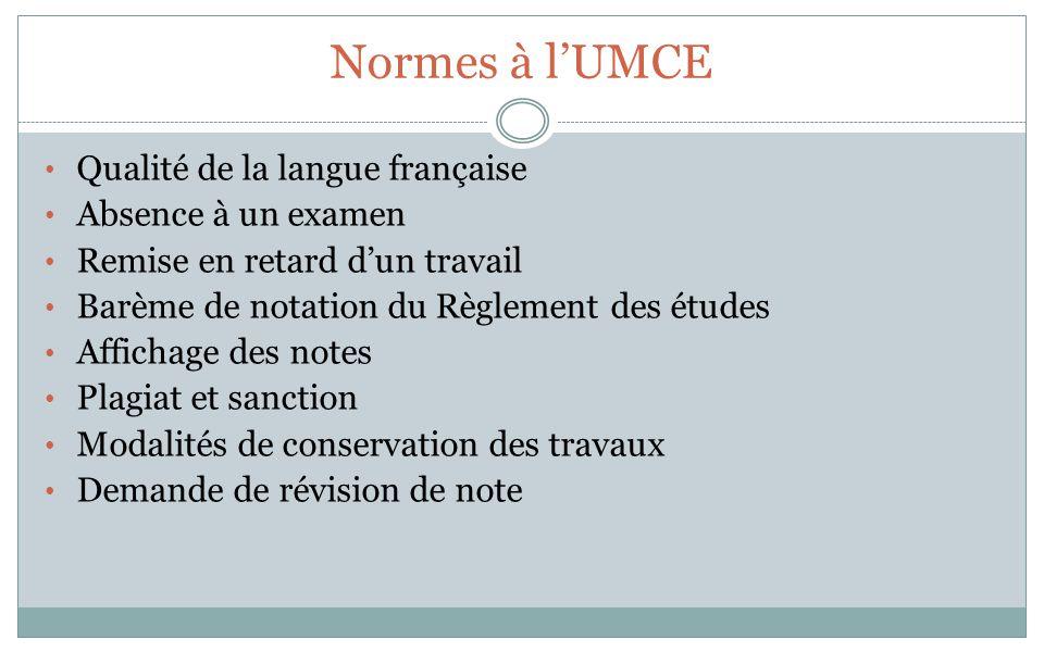 Normes à lUMCE Qualité de la langue française Absence à un examen Remise en retard dun travail Barème de notation du Règlement des études Affichage de