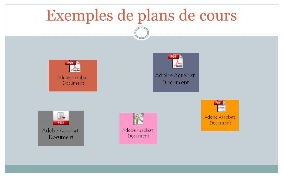 Exemples de plans de cours