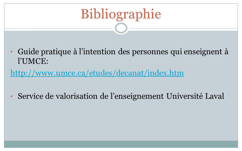 Bibliographie Guide pratique à lintention des personnes qui enseignent à lUMCE: http://www.umce.ca/etudes/decanat/index.htm Service de valorisation de lenseignement Université Laval