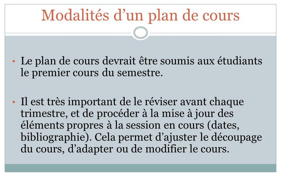 Modalités dun plan de cours Le plan de cours devrait être soumis aux étudiants le premier cours du semestre. Il est très important de le réviser avant