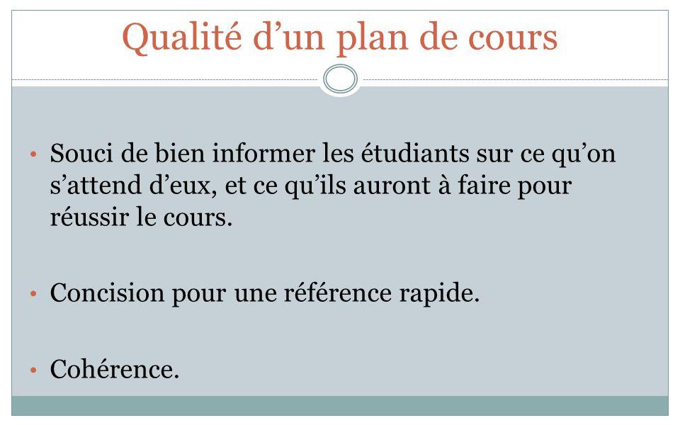 Éléments constitutifs (11) dun plan de cours 1.Identification : cours et professeur 2.