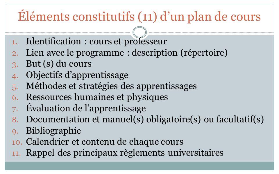 Éléments constitutifs (11) dun plan de cours 1. Identification : cours et professeur 2. Lien avec le programme : description (répertoire) 3. But (s) d