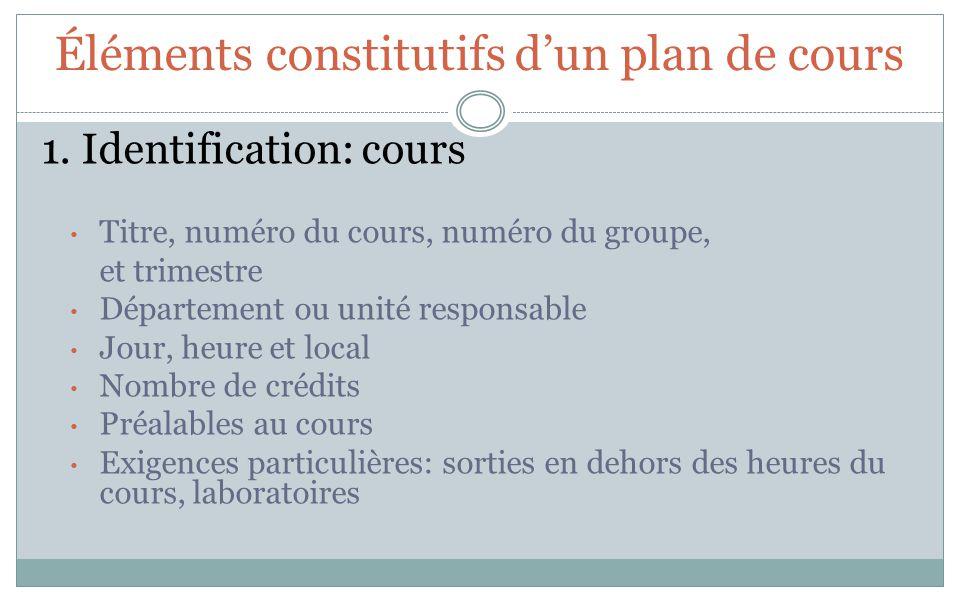 Éléments constitutifs dun plan de cours 1. Identification: cours Titre, numéro du cours, numéro du groupe, et trimestre Département ou unité responsab