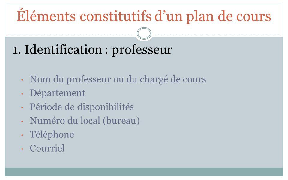 Éléments constitutifs dun plan de cours 1. Identification : professeur Nom du professeur ou du chargé de cours Département Période de disponibilités N
