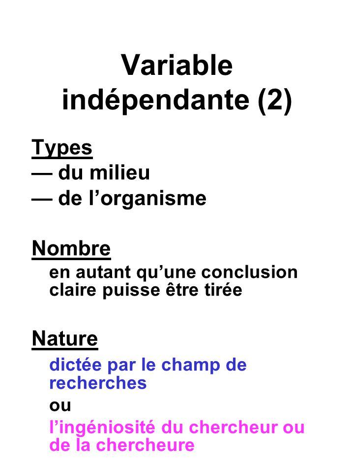 Variable indépendante (2) Types du milieu de lorganisme Nombre en autant quune conclusion claire puisse être tirée Nature dictée par le champ de recherches ou lingéniosité du chercheur ou de la chercheure