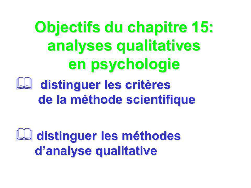 Objectifs du chapitre 15: analyses qualitatives en psychologie distinguer les critères de la méthode scientifique distinguer les critères de la méthod