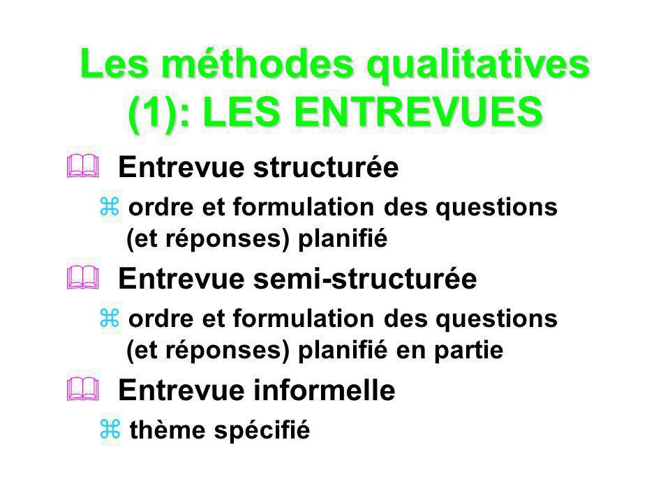 Les méthodes qualitatives (1): LES ENTREVUES Entrevue structurée ordre et formulation des questions (et réponses) planifié Entrevue semi-structurée or