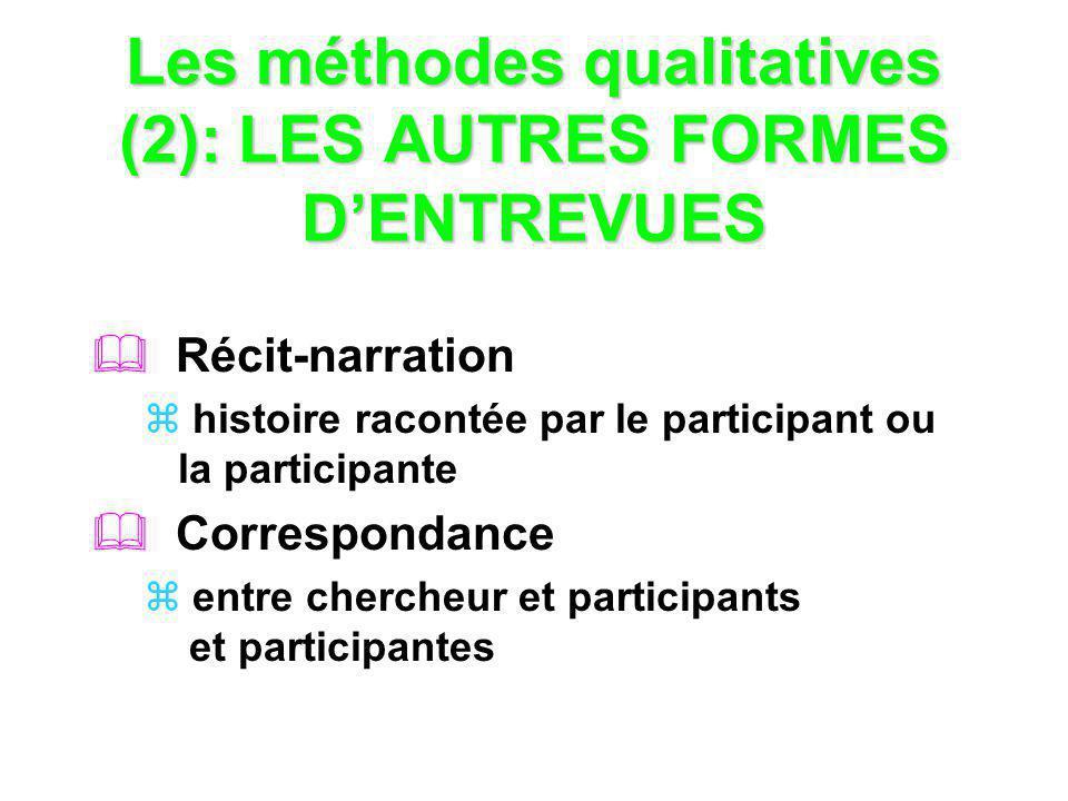 Les méthodes qualitatives (2): LES AUTRES FORMES DENTREVUES Récit-narration histoire racontée par le participant ou la participante Correspondance ent
