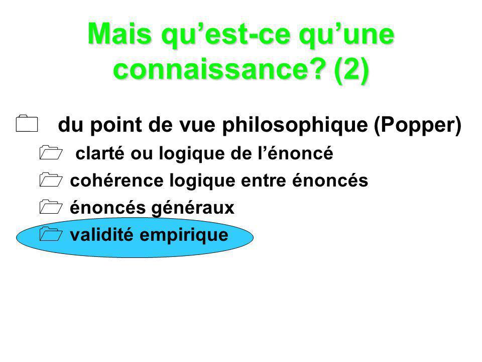 Mais quest-ce quune connaissance? (2) du point de vue philosophique (Popper) clarté ou logique de lénoncé cohérence logique entre énoncés énoncés géné