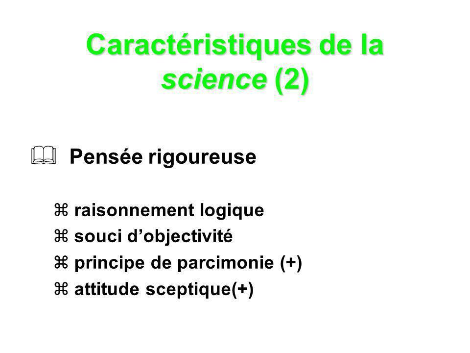 Caractéristiques de la science (3) Connaissance relative (hypothétique) paradigme en évolution contrôle social reproduction des résultats auto-correction validité empirique ou réfutabilité souci de communication