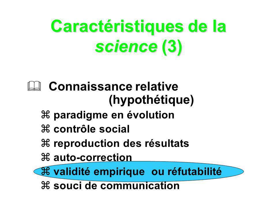 Caractéristiques de la science (3) Connaissance relative (hypothétique) paradigme en évolution contrôle social reproduction des résultats auto-correct