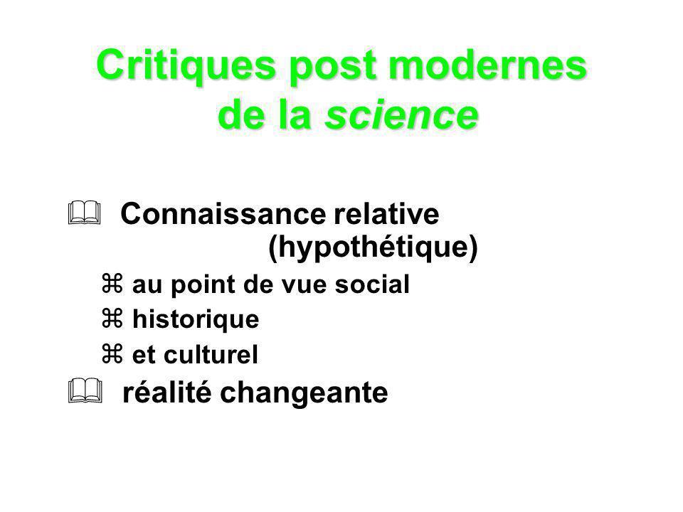Critiques post modernes de la science Connaissance relative (hypothétique) au point de vue social historique et culturel réalité changeante