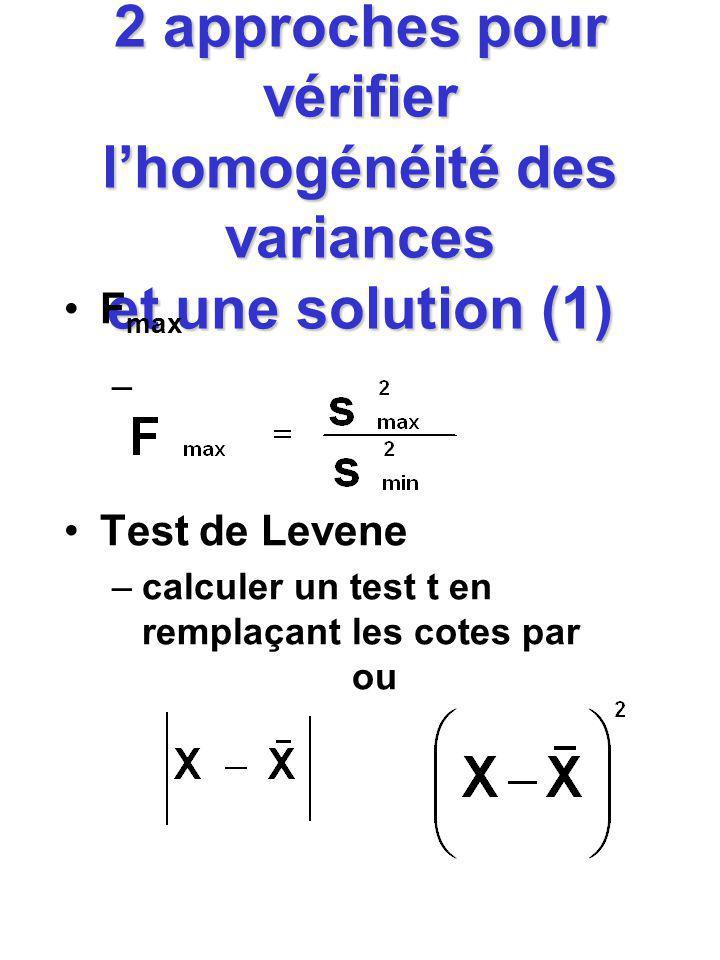 2 approches pour vérifier lhomogénéité des variances et une solution (1) F max – Test de Levene –calculer un test t en remplaçant les cotes par ou