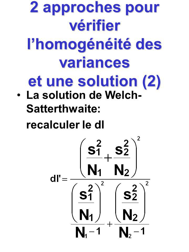 2 approches pour vérifier lhomogénéité des variances et une solution (2) La solution de Welch- Satterthwaite: recalculer le dl