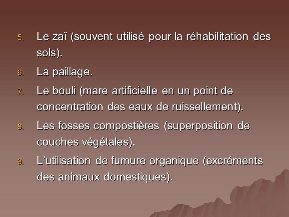 5. Le zaï (souvent utilisé pour la réhabilitation des sols). 6. La paillage. 7. Le bouli (mare artificielle en un point de concentration des eaux de r