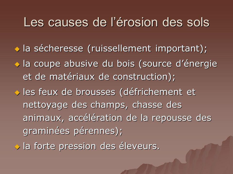 Les causes de lérosion des sols la sécheresse (ruissellement important); la sécheresse (ruissellement important); la coupe abusive du bois (source dén