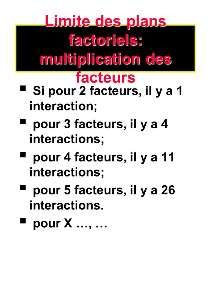 Limite des plans factoriels: multiplication des facteurs Si pour 2 facteurs, il y a 1 interaction; pour 3 facteurs, il y a 4 interactions; pour 4 fact