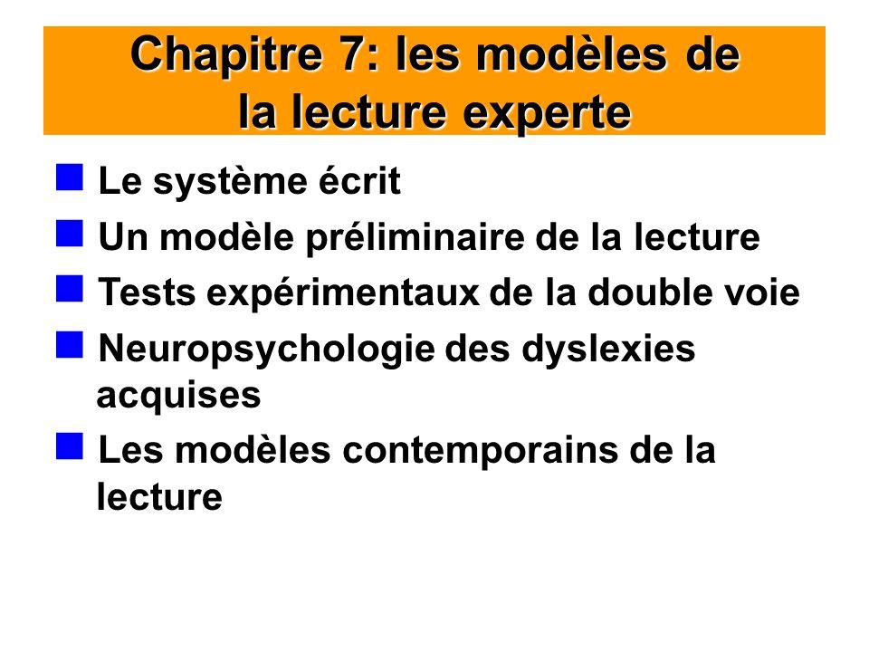 Chapitre 7: les modèles de la lecture experte Le système écrit Un modèle préliminaire de la lecture Tests expérimentaux de la double voie Neuropsychologie des dyslexies acquises Les modèles contemporains de la lecture