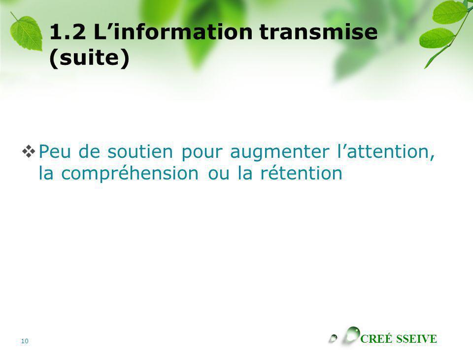 CREÉ SSEIVE 10 1.2 Linformation transmise (suite) Peu de soutien pour augmenter lattention, la compréhension ou la rétention