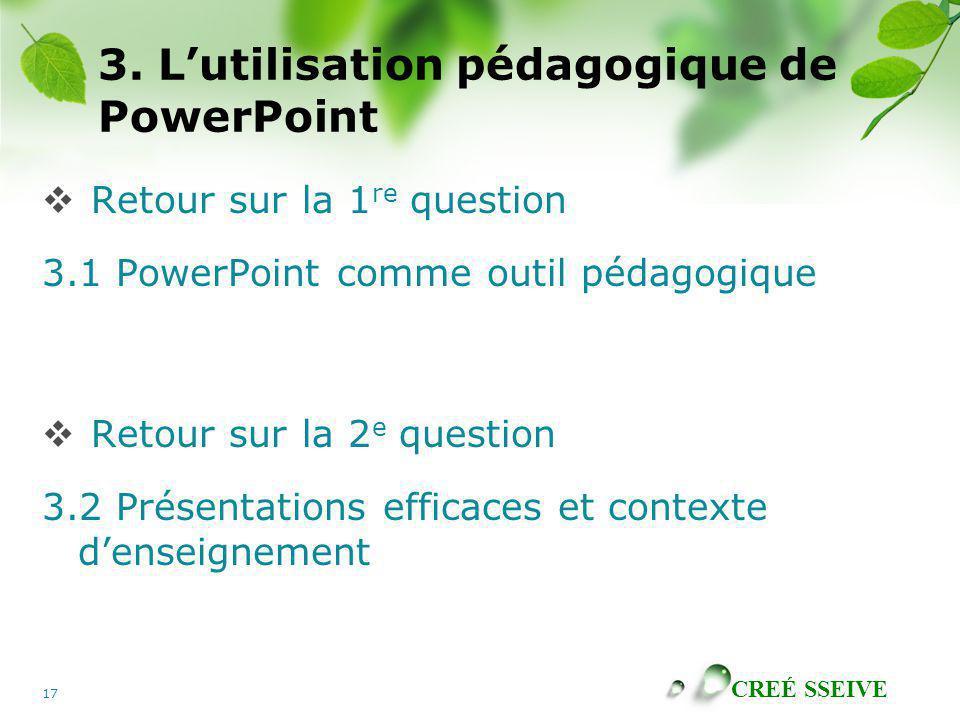 CREÉ SSEIVE 17 3. Lutilisation pédagogique de PowerPoint Retour sur la 1 re question 3.1 PowerPoint comme outil pédagogique Retour sur la 2 e question