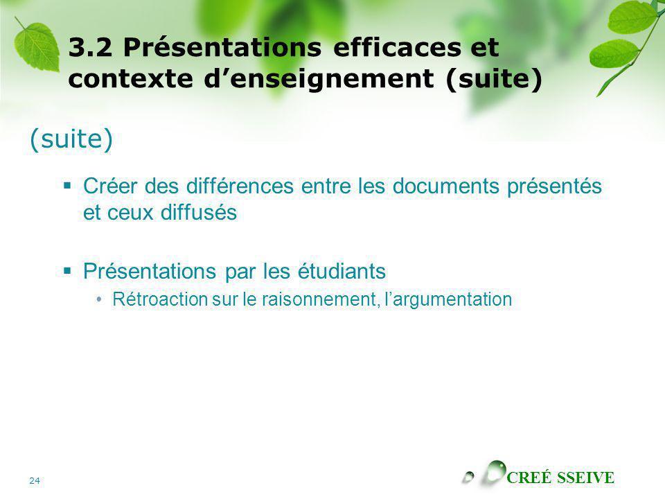 CREÉ SSEIVE 24 3.2 Présentations efficaces et contexte denseignement (suite) (suite) Créer des différences entre les documents présentés et ceux diffu