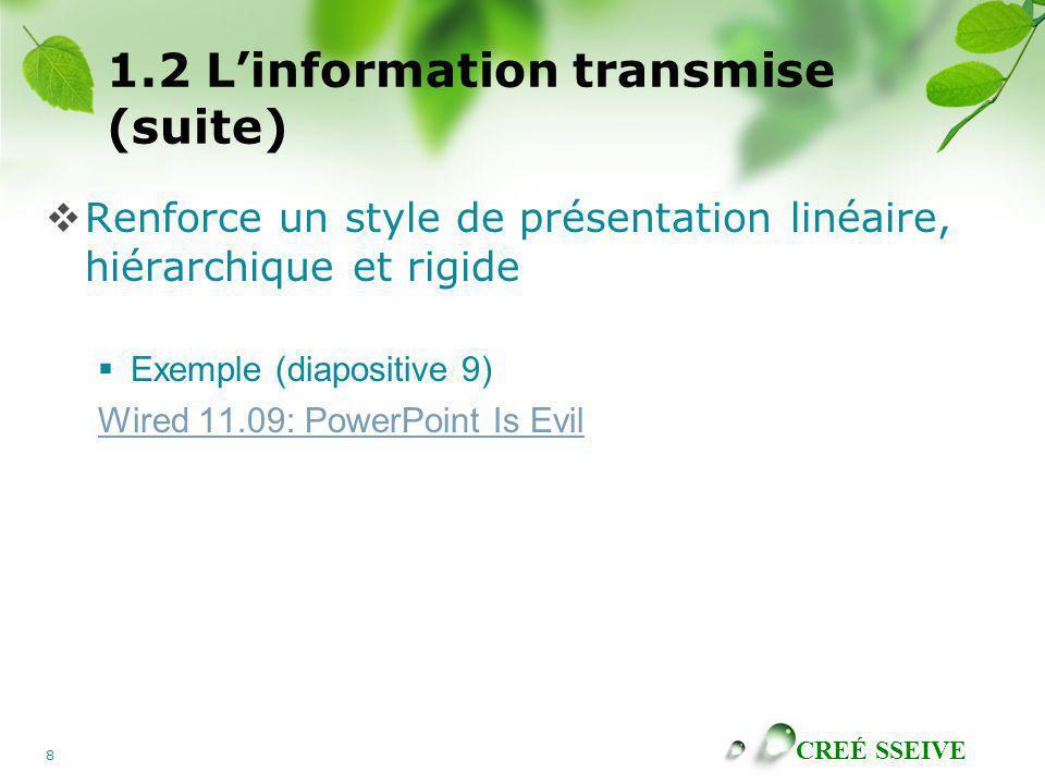 CREÉ SSEIVE 8 1.2 Linformation transmise (suite) Renforce un style de présentation linéaire, hiérarchique et rigide Exemple (diapositive 9) Wired 11.0