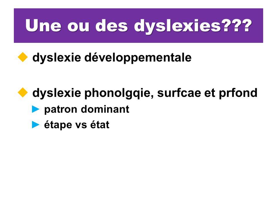 Une ou des dyslexies??.