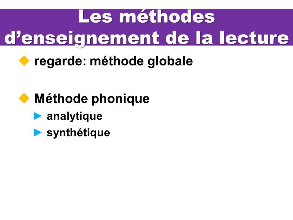 Les méthodes denseignement de la lecture regarde: méthode globale Méthode phonique analytique synthétique