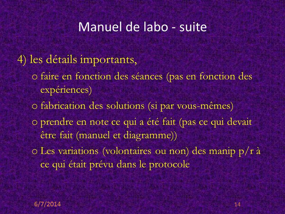 Manuel de labo - suite 4) les détails importants, o faire en fonction des séances (pas en fonction des expériences) o fabrication des solutions (si pa