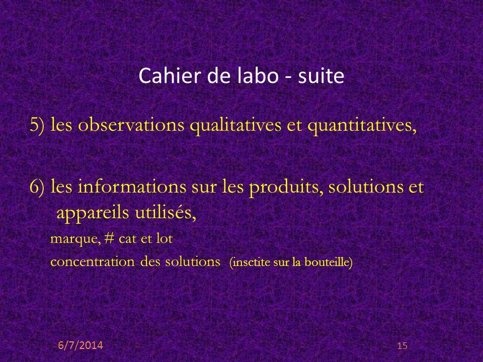 Cahier de labo - suite 5) les observations qualitatives et quantitatives, 6) les informations sur les produits, solutions et appareils utilisés, marqu