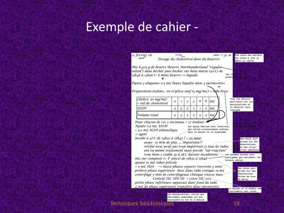Exemple de cahier - Techniques biochimiques18