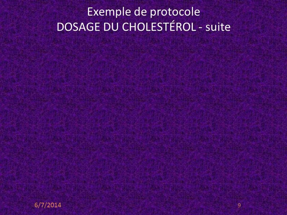 Exemple de protocole DOSAGE DU CHOLESTÉROL - suite 6/7/2014 9
