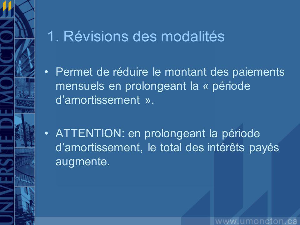 1. Révisions des modalités Permet de réduire le montant des paiements mensuels en prolongeant la « période damortissement ». ATTENTION: en prolongeant