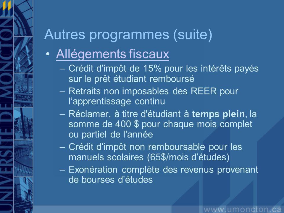Autres programmes (suite) Allégements fiscaux –Crédit dimpôt de 15% pour les intérêts payés sur le prêt étudiant remboursé –Retraits non imposables de