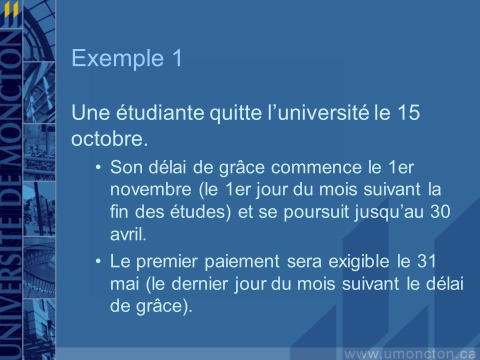 Exemple 1 Une étudiante quitte luniversité le 15 octobre.