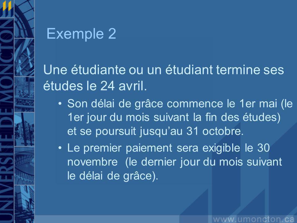 Exemple 2 Une étudiante ou un étudiant termine ses études le 24 avril. Son délai de grâce commence le 1er mai (le 1er jour du mois suivant la fin des