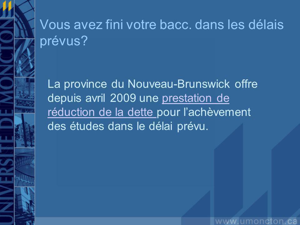 Vous avez fini votre bacc. dans les délais prévus? La province du Nouveau-Brunswick offre depuis avril 2009 une prestation de réduction de la dette po