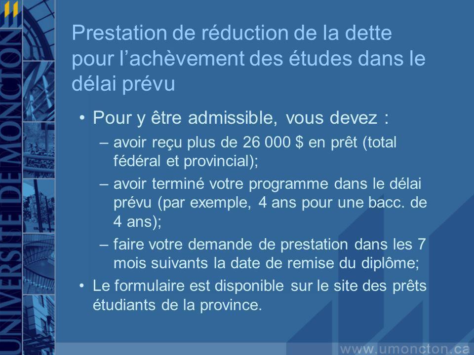Pour y être admissible, vous devez : –avoir reçu plus de 26 000 $ en prêt (total fédéral et provincial); –avoir terminé votre programme dans le délai prévu (par exemple, 4 ans pour une bacc.