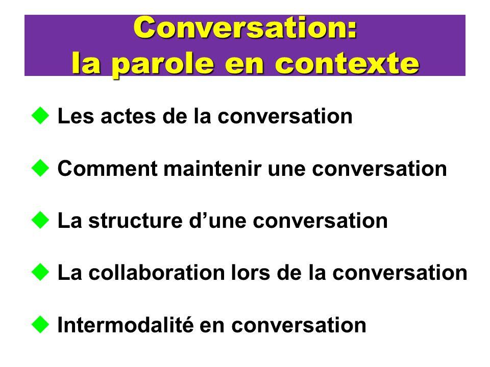 Conversation: la parole en contexte Les actes de la conversation Comment maintenir une conversation La structure dune conversation La collaboration lo