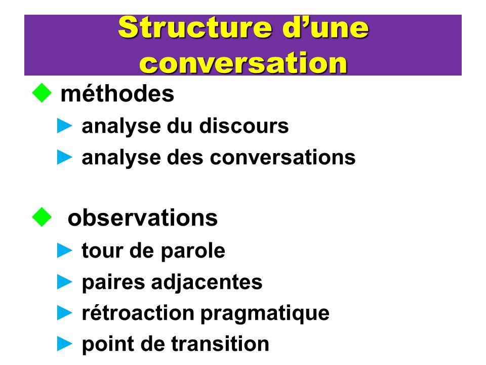 Structure dune conversation méthodes analyse du discours analyse des conversations observations tour de parole paires adjacentes rétroaction pragmatiq