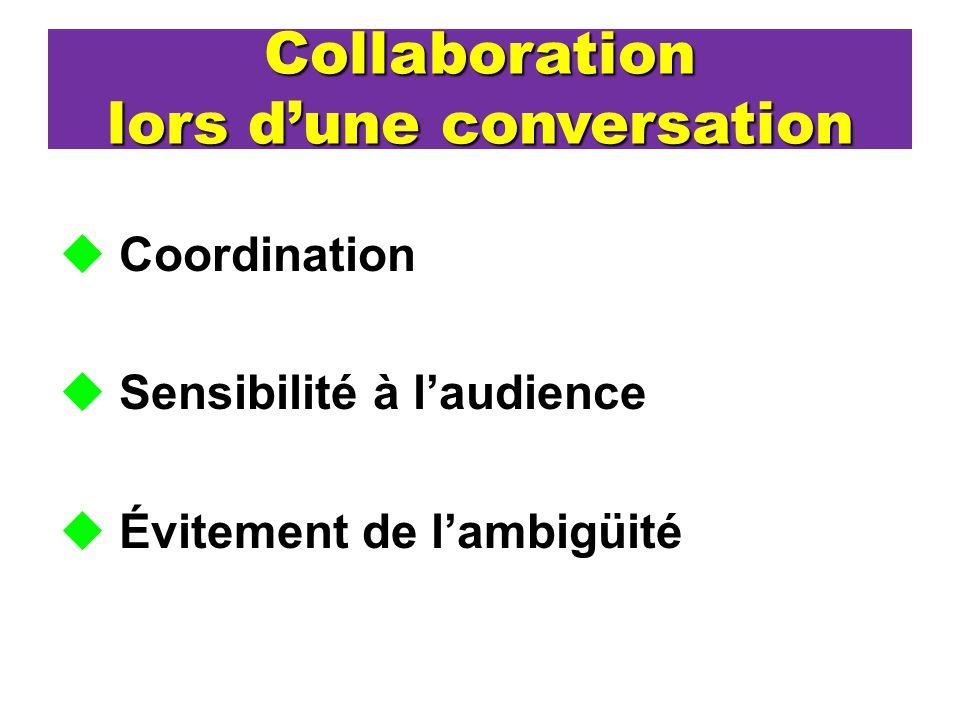 Collaboration lors dune conversation Coordination Sensibilité à laudience Évitement de lambigüité