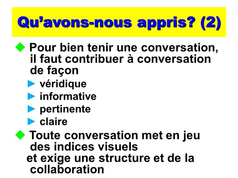 Quavons-nous appris? (2) Pour bien tenir une conversation, il faut contribuer à conversation de façon véridique informative pertinente claire Toute co