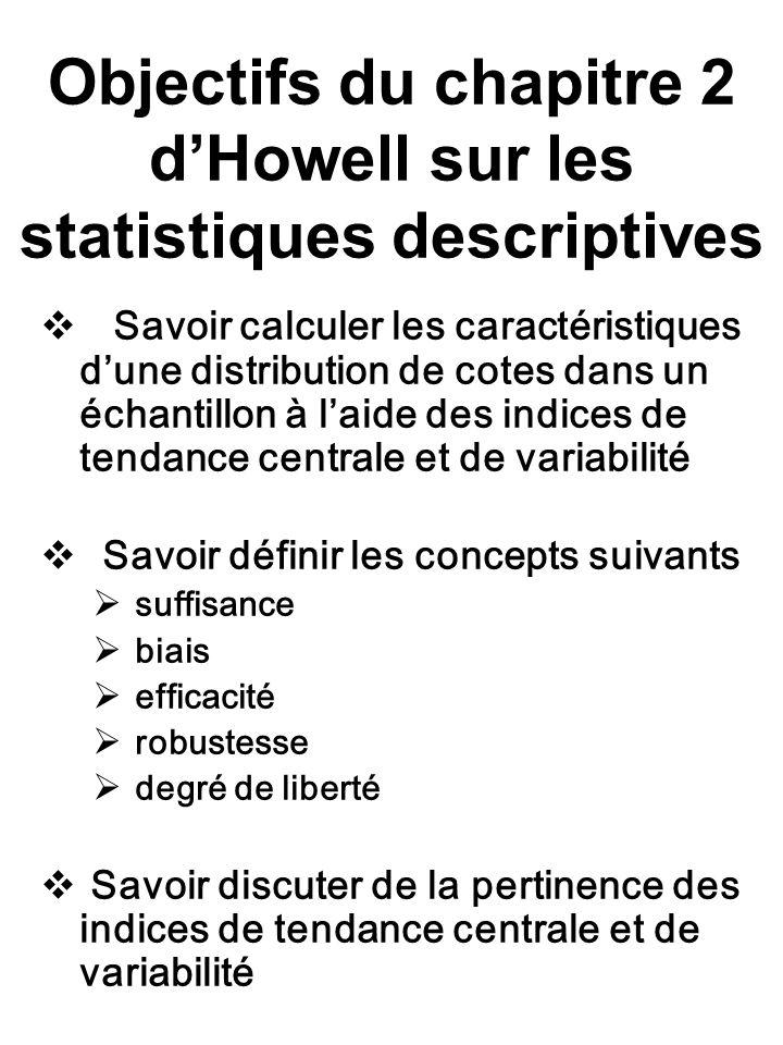 Objectifs du chapitre 2 dHowell sur les statistiques descriptives Savoir calculer les caractéristiques dune distribution de cotes dans un échantillon