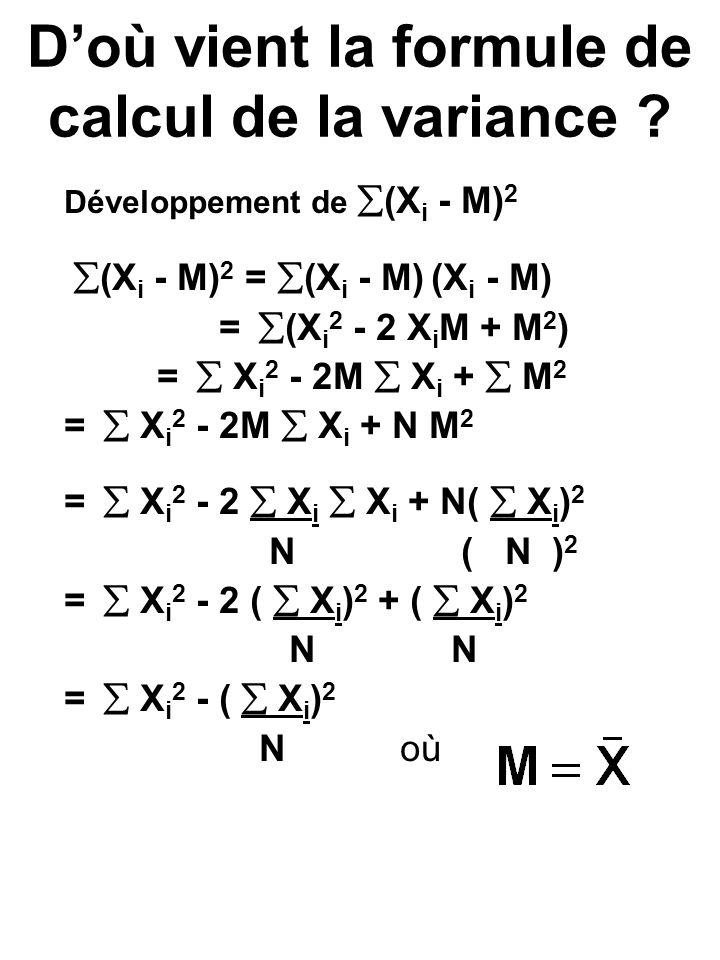 Doù vient la formule de calcul de la variance ? Développement de (X i - M) 2 (X i - M) 2 = (X i - M) (X i - M) = (X i 2 - 2 X i M + M 2 ) = X i 2 - 2M