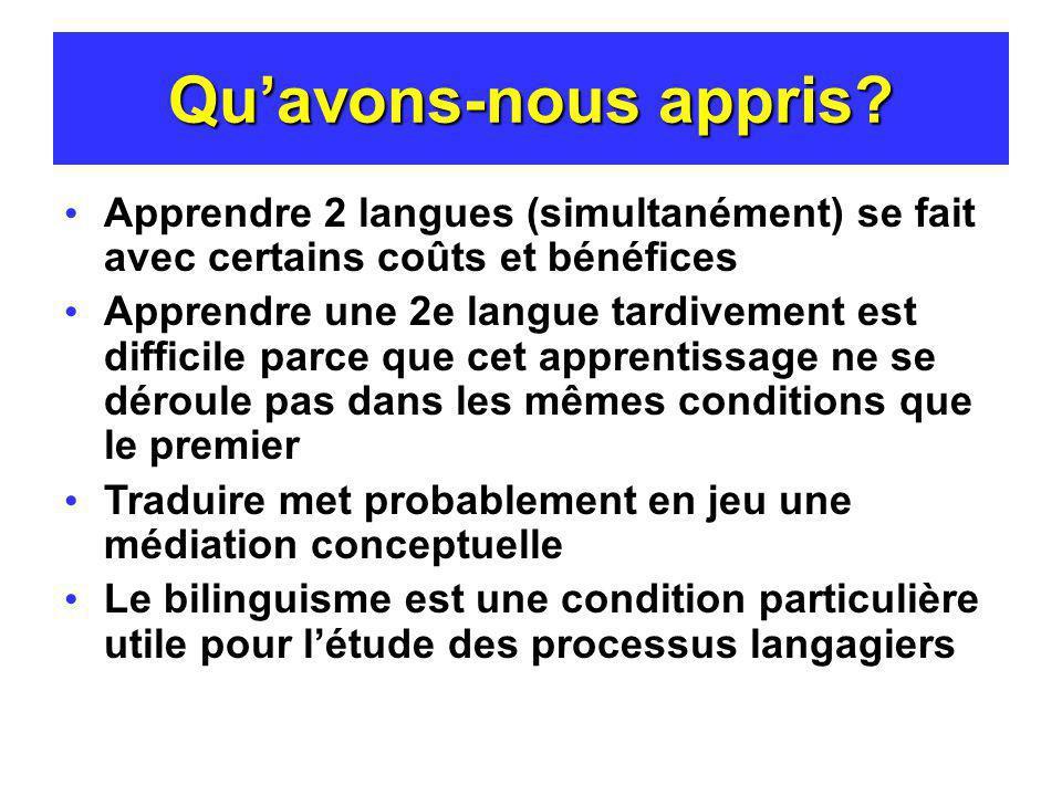 Quavons-nous appris? Apprendre 2 langues (simultanément) se fait avec certains coûts et bénéfices Apprendre une 2e langue tardivement est difficile pa