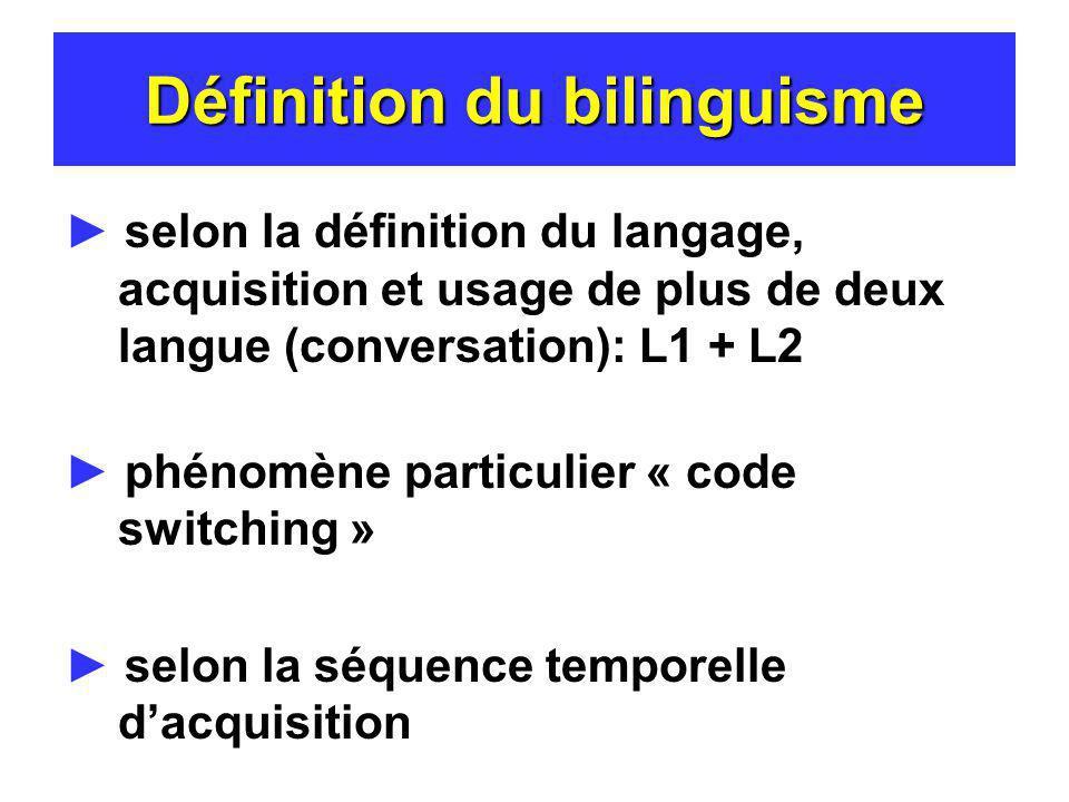 Définition du bilinguisme selon la définition du langage, acquisition et usage de plus de deux langue (conversation): L1 + L2 phénomène particulier «